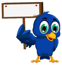 Cute blue bird cartoon holding blank board vector