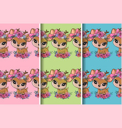 Cute deer with flowers with pattern set design vector