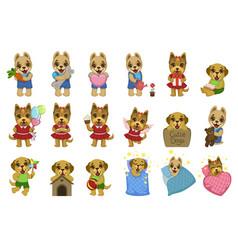 Cute dog cartoon set vector