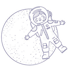 Cute girl for coloring book girl in astronaut vector