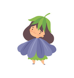Cute little girl wearing blue flower costume vector