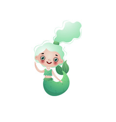 cute smiling mermaid girl with green wavy knotted vector image