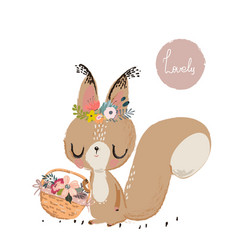 Cute summer squirrel vector