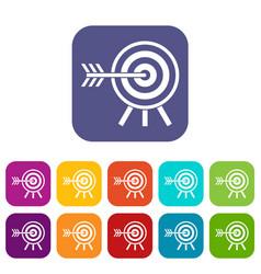 darts icons set vector image