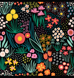 doodle flower meadow seamless kids pattern vector image
