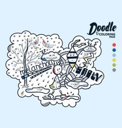 doodle melancholy vector image