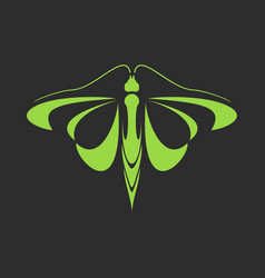 emblem of a green butterfly on a black background vector image