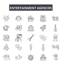 Entertaiment agencies line icons signs vector