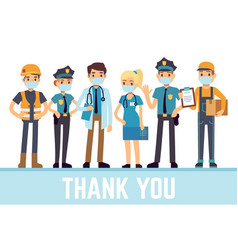 essential workers thank you frontliners vector image