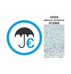 euro umbrella rounded icon with 1000 bonus icons vector image