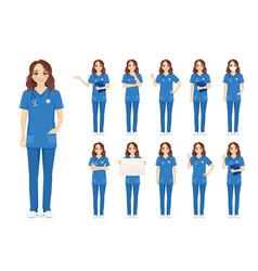 Female nurse character set vector