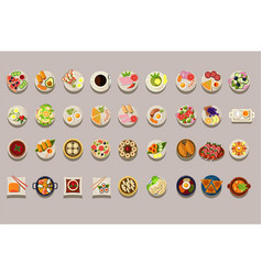 flat set various dishes detailed food vector image