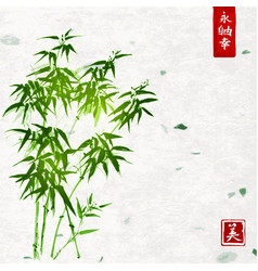 Green bamboo on handmade rice paper background vector