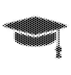 Halftone dot graduation cap icon vector