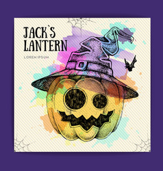 halloween hand drawing pumpkin jack lantern vector image