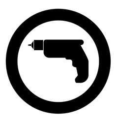 Hand drill icon black color in circle vector