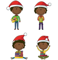 Happy African-American Santa boys vector image