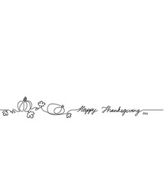 happy thanksgiving one continuous single line vector image
