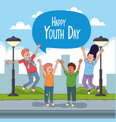 Happy youth day card with teenagers cartoons vector