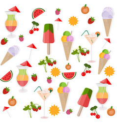icecream and cocktail set background vector image
