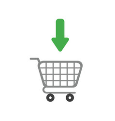 icon concept of arrow moving inside shopping cart vector image