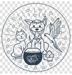 Icon pets sitting cat dog vector