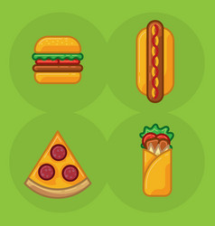 icon set of food fast food pizza sandwich vector image