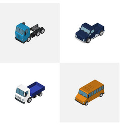 Isometric car set of lorry truck autobus and vector