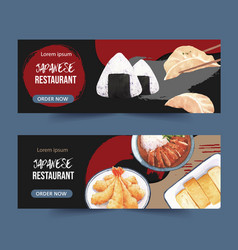 Japanese food for banner tempura-themed graphic vector