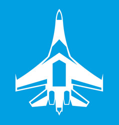 Jet fighter plane icon white vector