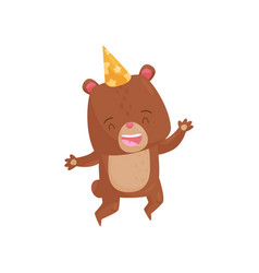 joyful brown bear in jumping action happy vector image