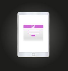 log in form on tablet screen vector image