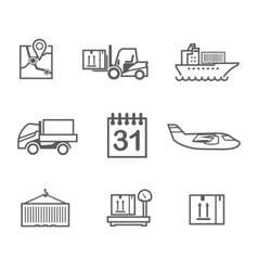 Logistics line icons set vector image