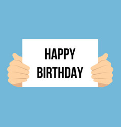 man showing paper happy birthday text vector image