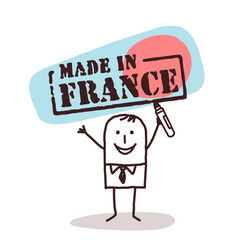 man with made in france sign vector image