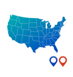 map usa in blue color with map pins isolated vector image