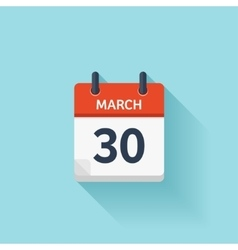 March 30 flat daily calendar icon date vector