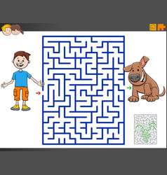 maze game with cartoon boy and puppy dog vector image