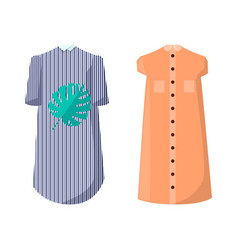 Modern summer dresses with high collar and buttons vector