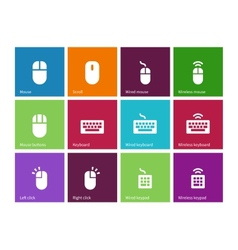 Mouse and num lock icons on color background vector image