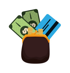 Nice purse with credit card and bills cash money vector
