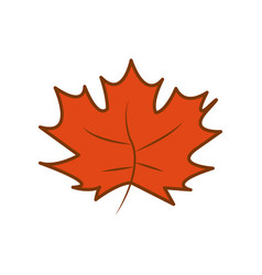 Orange maple dry leaf autumn theme cartoon design vector