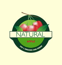 organic apple logo vector image