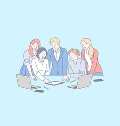 Positive workplace environment business meeting vector