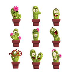Potted cactus characters sett funny cacti in vector