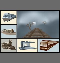 Railway transport set vector