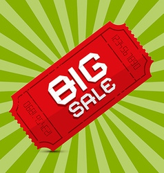Red Big Sale Paper Ticket on Green Background vector image