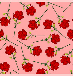 red carnation flower on pink background vector image