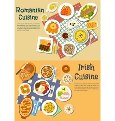 Rich food of romanian and irish cuisine flat icon vector
