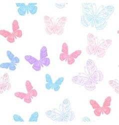 Seamless pattern made of koral butterflies vector image